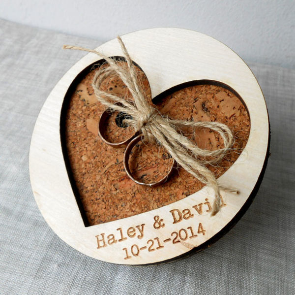 Rustic Personalized Wedding Ring Pillow Holder