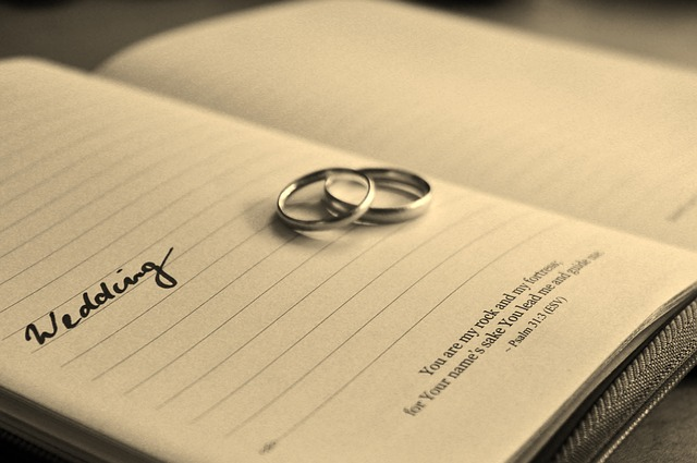 Wedding Rings and Notebook