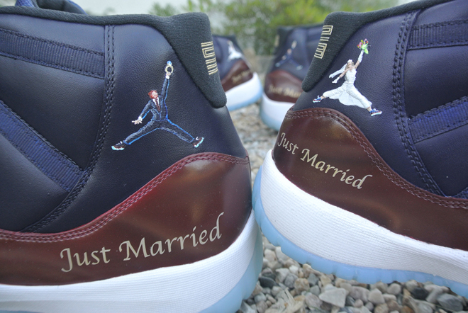 29702bf3d20 Must See: Customized Air Jordan 11s of a Recently Married Basketball ...