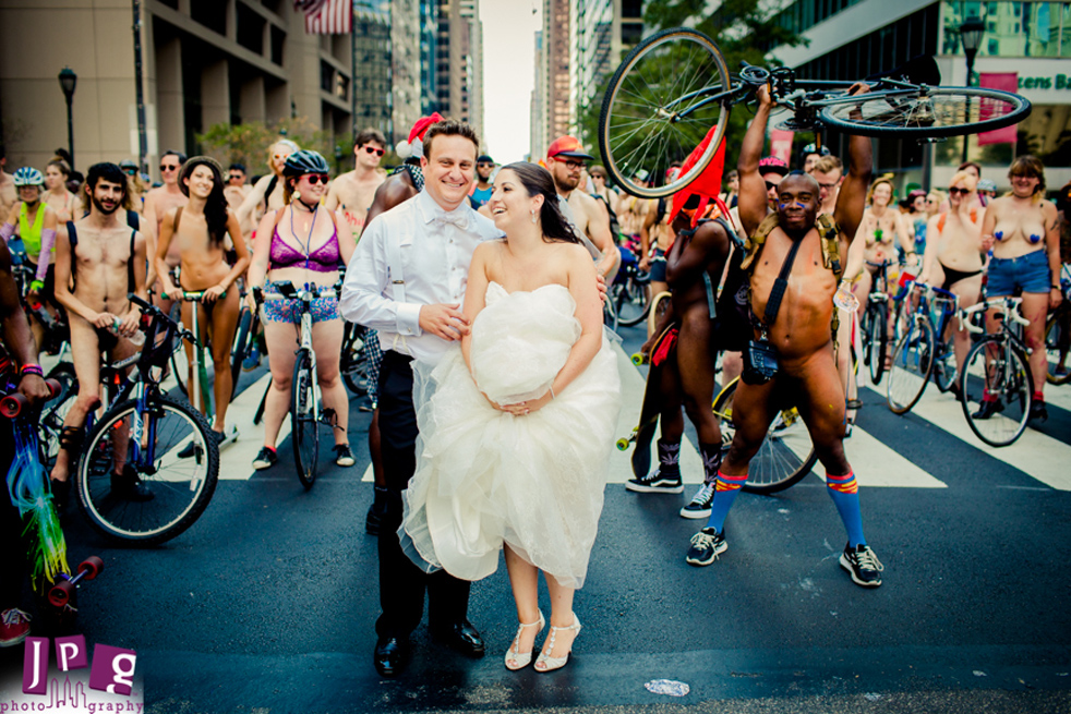 Nude Cyclists Wedding Photobomb