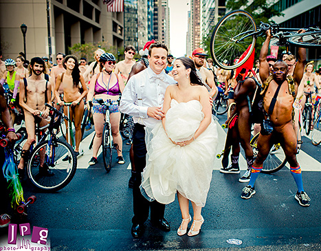 Wedding Photobomb Cyclists 1
