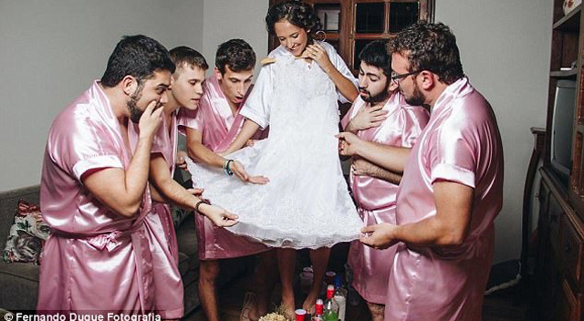 Luckily for her, the guys she invited to stand by her for her wedding were happy to oblige in the fun shoot