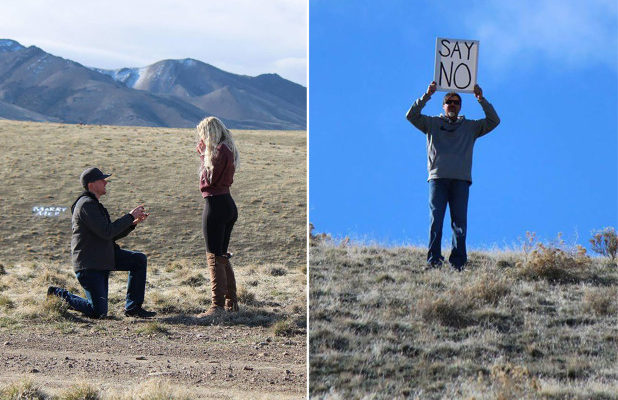 "Dad Wins the Internet after Trolling Daughter's Wedding Proposal with ""Say No"" Sign"