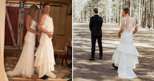 The Groom's a Nervous Wreck, So Bride Sends Brother in Wedding Dress for 'First Look'