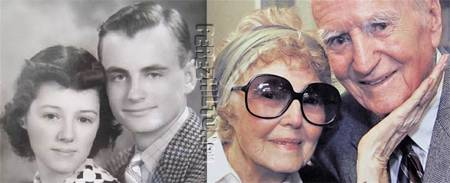 High school sweethearts and husband and wife of 75 years Helen and Les Brown of Long Beach California