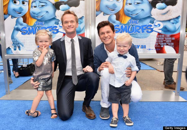 "WESTWOOD, CA - JULY 28:  Actor Neil Patrick Harris (2nd-L), David Burtka (2nd-R), Harper Grace Burtka-Harris (L), and Gideon Scott Burtka-Harris (R) attend the premiere Of Columbia Pictures' ""Smurfs 2"" at Regency Village Theatre on July 28, 2013 in Westwood, California.  (Photo by Alberto E. Rodriguez/Getty Images)"
