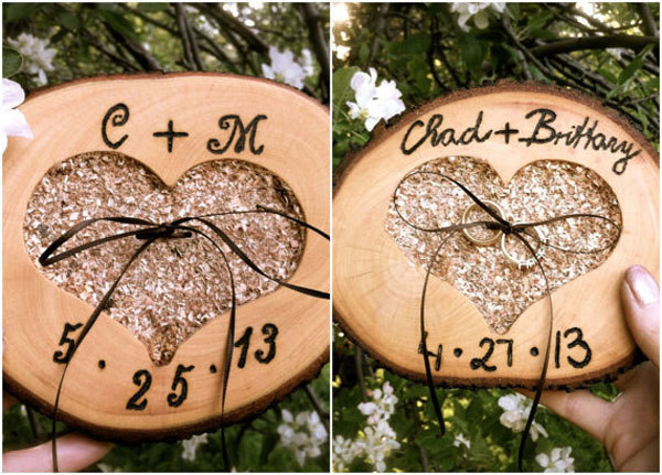 Rustic wedding ring pillow bearer wooden holder heart
