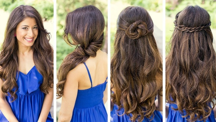 wedding hairstyles for long hair bridesmaid