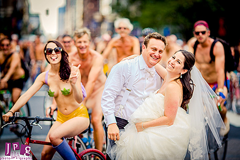Wedding Photobomb Cyclists