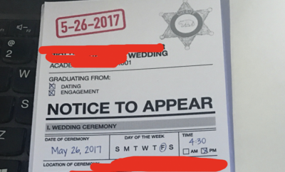 Notice To Appear Wedding Invitation