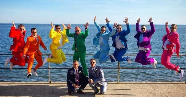 Gay Grooms Gets Awesome Surprise from Friends Who Attended Wedding in Rainbow Suits