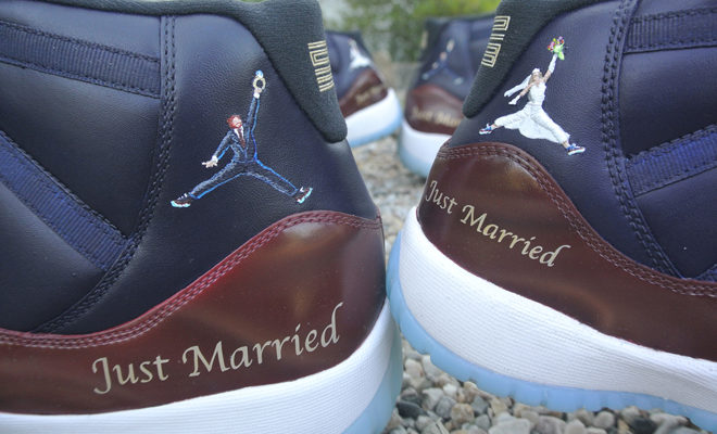 Must See: Customize Shoes Jordan 11s of a Recently Married Basketball Couple!